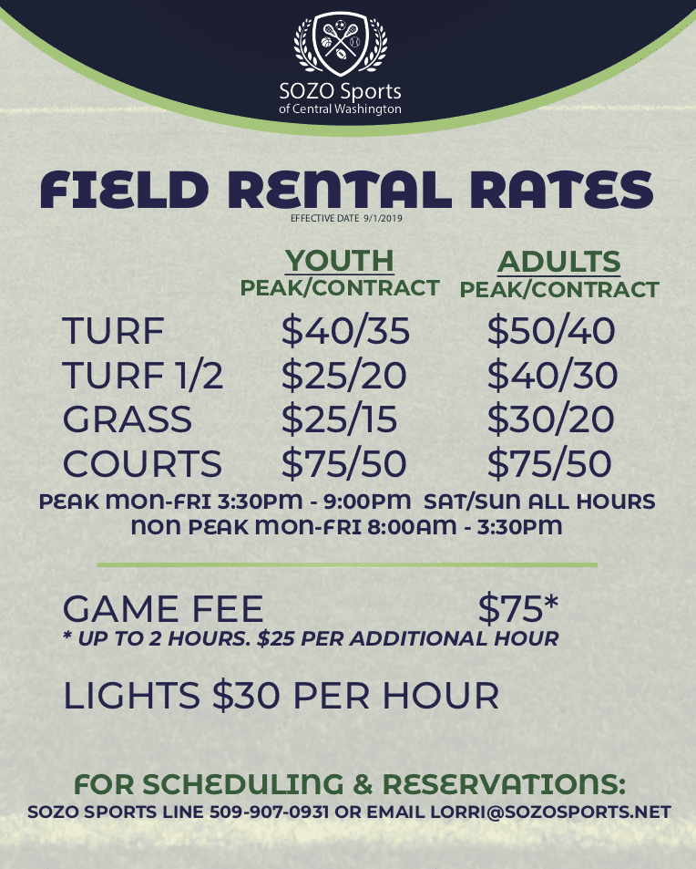 UPDATED FIELD RENTAL RATES 9-15-19
